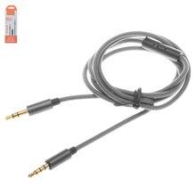AUX кабель Hoco UPA04, TRS 3.5 мм, TRRS 3.5 мм, 100 см, сірий, з мікрофоном, в нейлоновому обплетенні - Короткий опис